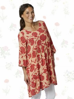 Violas Peach and Raspberries Tunic